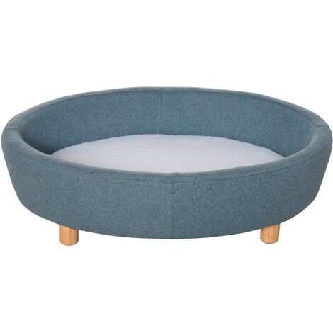 PawHut Oval Fabric Pet Sofa Soft Cushioned Couch Bed w/ Wood Legs Blue