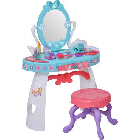 HOMCOM Kids Pretend Dressing Set w/ Table Stool Accessories Lights Music Storage