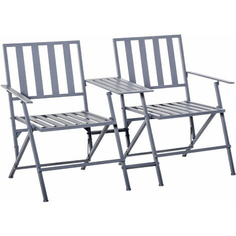 Outsunny Folding Steel Double Seat Garden Loveseat Bench Patio Chair Table Grey