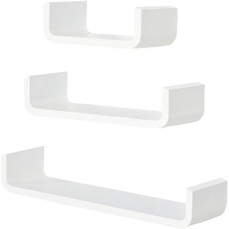 HOMCOM 3PC Different Sizes Wooden U Shaped Shelves Set Hanging CD DVD Storage Display Bookshelf White