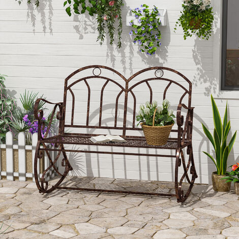 Outsunny 2 Seater Metal Garden Park, Outdoor Rocking Bench Seat