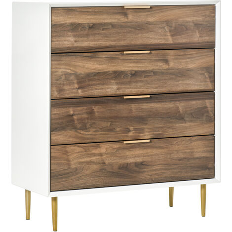 HOMCOM 4 Drawers Chest Elegant Vintage Bedroom Storage Side Cabinet w/ Handles