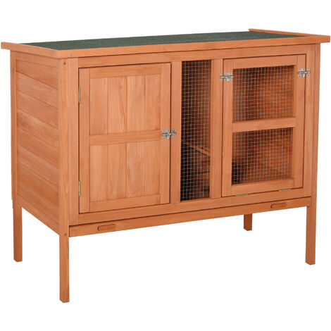 PawHut Wooden Pet House Elevated Rabbit Hutch Bunny Cage w/ Doors Windows