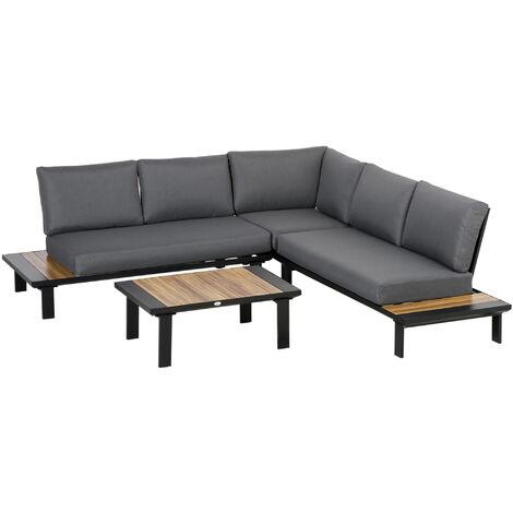 Outsunny 4 Pcs Garden Furniture Conversation Set w/ Loveseat Corner Sofa Table
