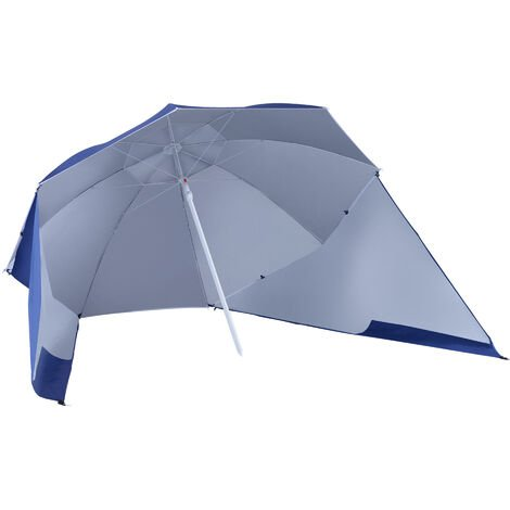 Outsunny 7ft Parasol Sun Umbrella Beach Shade Side Panels Canopy Steel Frame - Blue