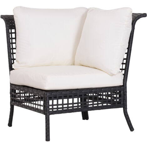 Outsunny Rattan Single Corner Sofa Garden Furniture Wicker w/ Cushion and Pillow