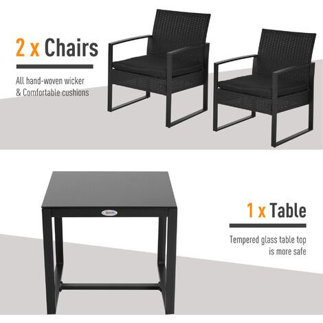 Outsunny 3PC Rattan Coffee Table and 2 Chairs Set Outdoor Wicker Furniture
