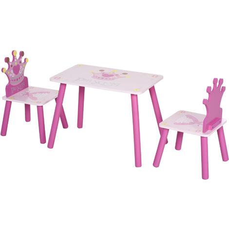 HOMCOM 3 PCS Kids Princess Wooden Table & Chair Set Cute Seating Dining Pink