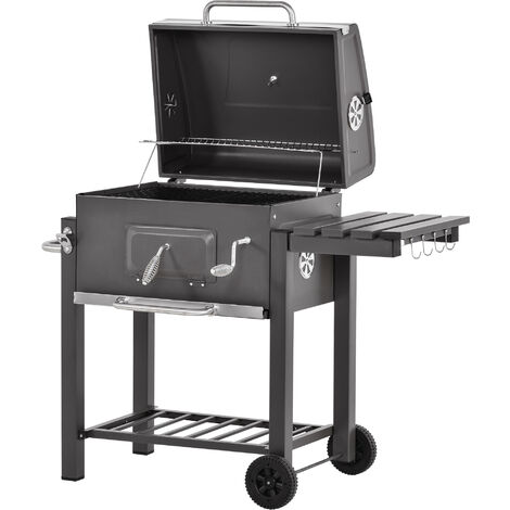 Outsunny Deluxe Steel BBQ Smoker w/ Adjustable Furnace Thermometer Wheels Bottle Opener