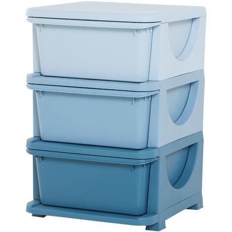HOMCOM Kids 3 Drawer Storage Units Vertical Dresser Organiser Bedroom Blue