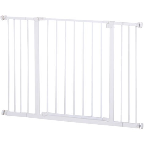 PawHut 72-107cm Extending Metal Pet Gate Pressure Fitted Safety Fence Dog Cat