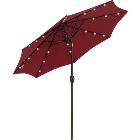 Outsunny 24 LED Light Parasol Tilt Sun Umbrella w/ Hand Crank - Wine Red