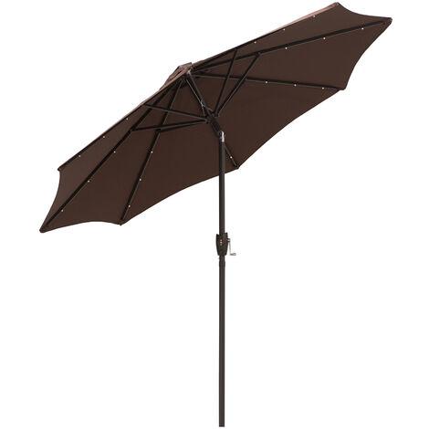 Outsunny 24 LED Light Parasol Tilt Sun Umbrella w/ Hand Crank - Coffee