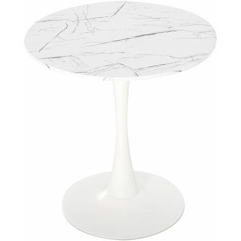 HOMCOM Round Dining Table Stylish Bistro Home Furniture w/ Metal Base White