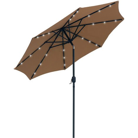 Outsunny 2.7m Garden Umbrella Outdoor Parasol with Hand Crank w/ 24 LEDs Lights - Brown