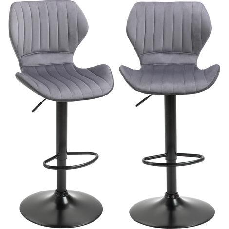 HOMCOM Set of 2 Velvet-Touch Bar Stools Adjustable Height Swivel Chairs Grey