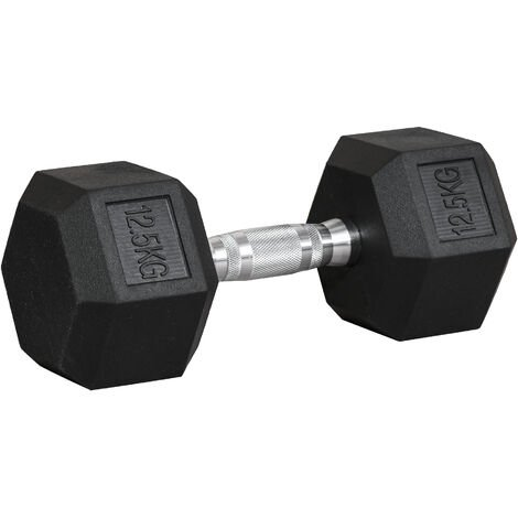 HOMCOM 12.5KG Single Rubber Hex Dumbbell Portable Hand Weights Dumbbell Home Gym