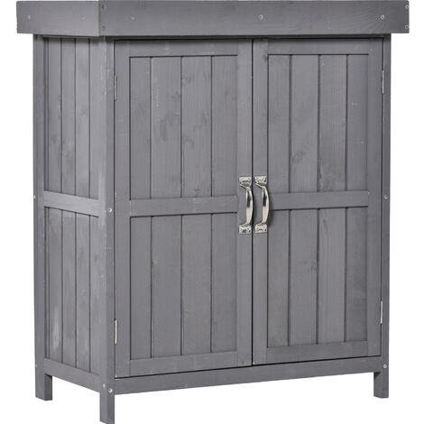 Outsunny Wooden Garden Shed Double Door Hinged Roof Tool Storage House Grey