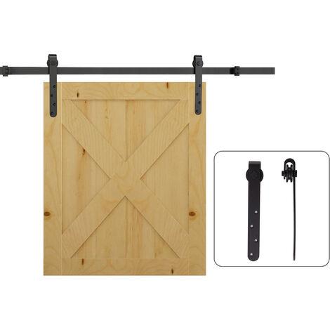 HOMCOM 180cm Sliding Track Steel Barn Wood Door Hardware Kit Cabinet Closet Hanger