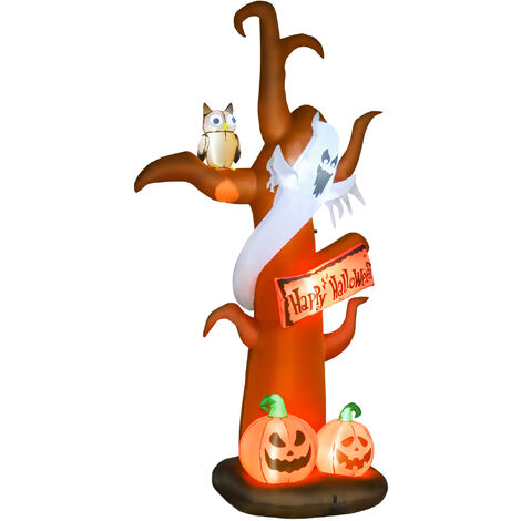 HOMCOM 2.7m Halloween Inflatable Decoration Tree Ghost Pumpkin w/ Lights Scary Fun Party