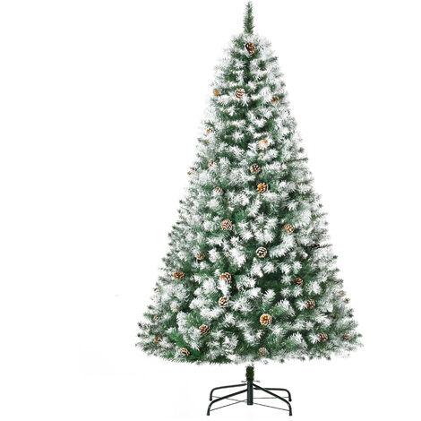 HOMCOM Snowy-Look & Pine Cone Artificial Christmas Tree Holiday Home Xmas 6ft