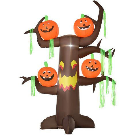 HOMCOM Halloween Decoration 2.4m Inflatable Ghost Tree with Pumpkins and 6 LED Lights