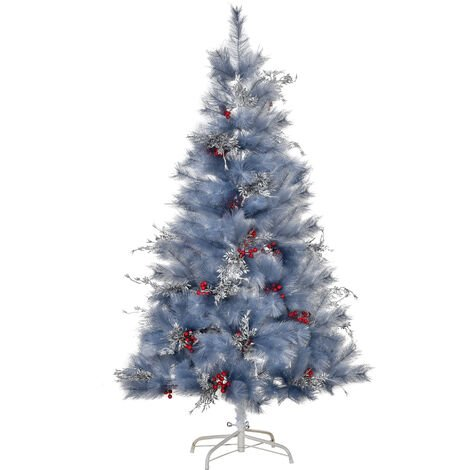 HOMCOM Christmas Tree Artificial Berry Snow with Metal Stand - 5ft / 150cm