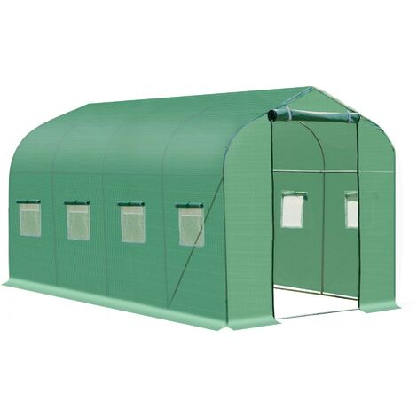 Outsunny Walk in Polytunnel Greenhouse with Windows and Door - 4 x 2 (m)
