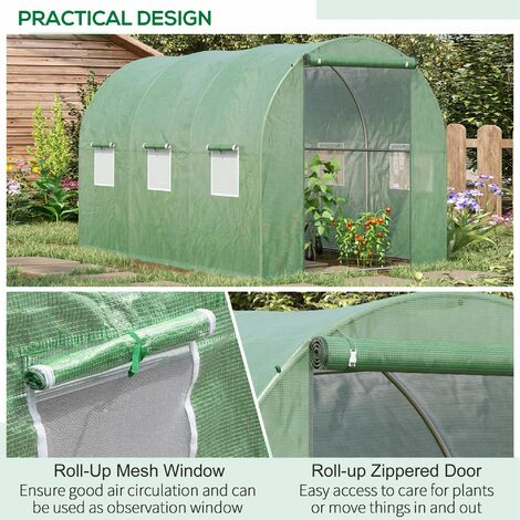 Outsunny Walk in Polytunnel Garden Greenhouse w/ Windows and Doors - 3 x 2 (m)