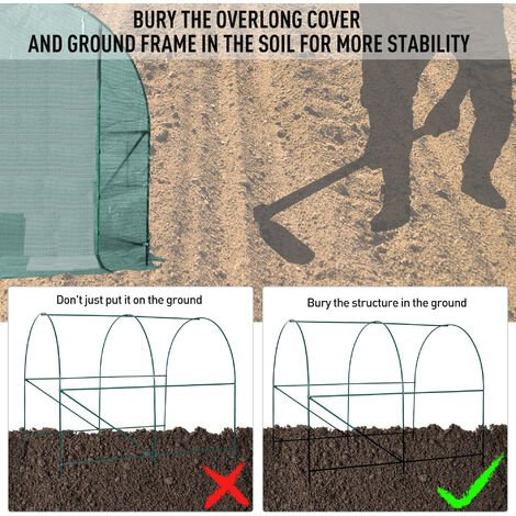 Outsunny Walk in Polytunnel Garden Greenhouse w/ Windows and Doors - 2.5 x 2 m