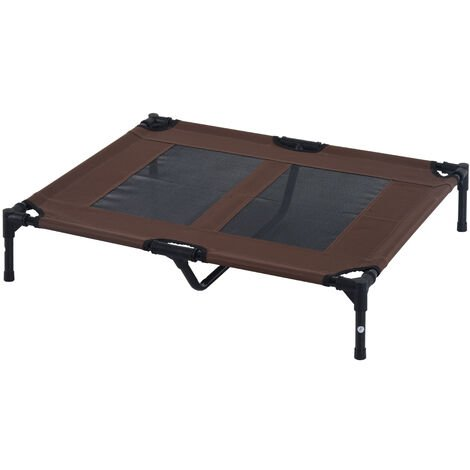 PawHut Large Elevated Dog Bed Outdoor Indoor Mesh Cot Metal Frame