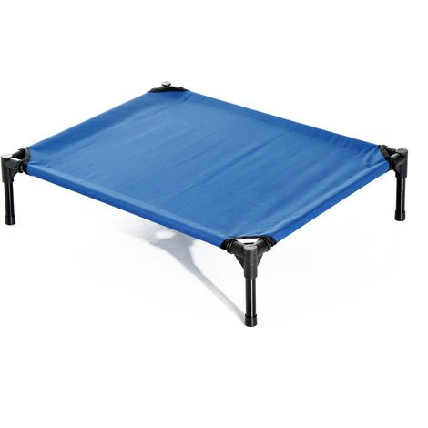 PawHut Elevated Pet Bed Portable Camping Raised Dog Metal Frame Blue - Medium