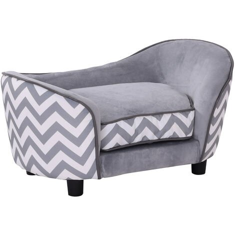 PawHut Plush Fur Dog Couch Deluxe Pet Sofa Lounger w/ Cushions - Grey