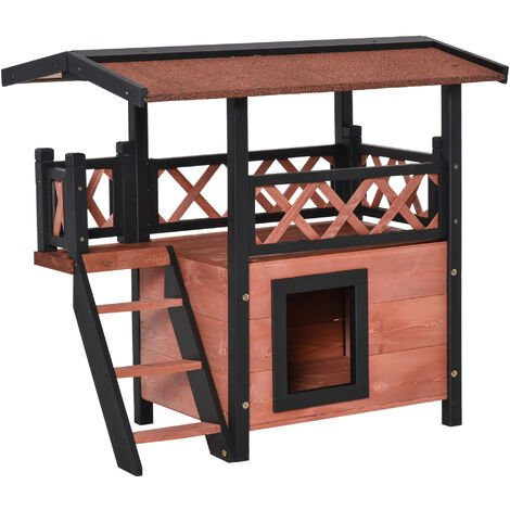 PawHut Wood House Outdoor Weatherproof Shelter Dog Cat PuppyGarden Kennel Crate