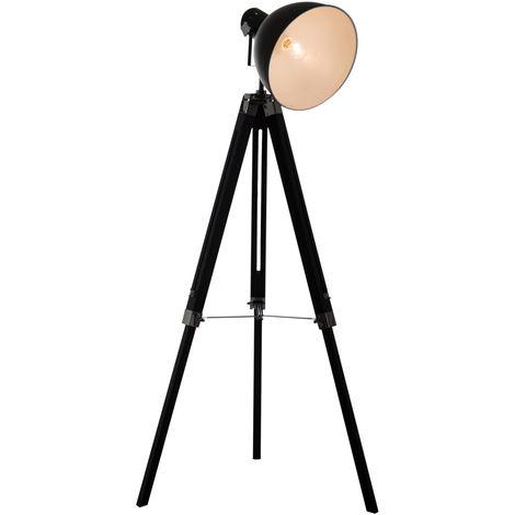 HOMCOM Height Adjustable Studio Retro Tripod Floor Lamp - Black and White