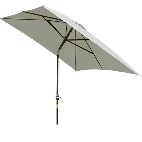 Outsunny 2 x 3m Tilt Parasol Sun Umbrella Garden Sunshade Aluminium - Cream White