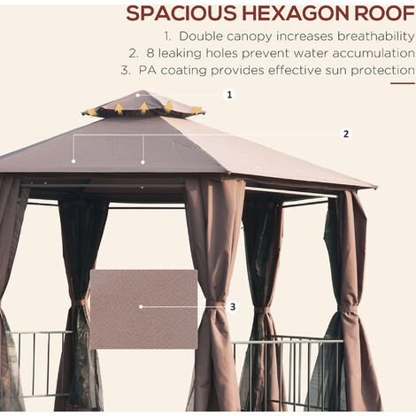 Outsunny 2m Hexagonal Gazebo Canopy Party Tent Garden Shelter 2 Tier Roof - Brown