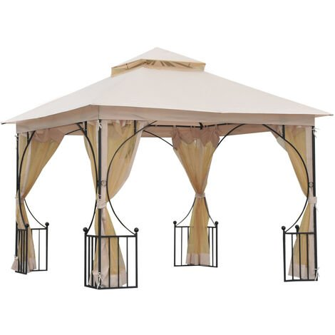 Outsunny 3 x 3m Gazebo Outdoor Patio Party Tent Shelter Garden Canopy 2 Tier Roof- Beige
