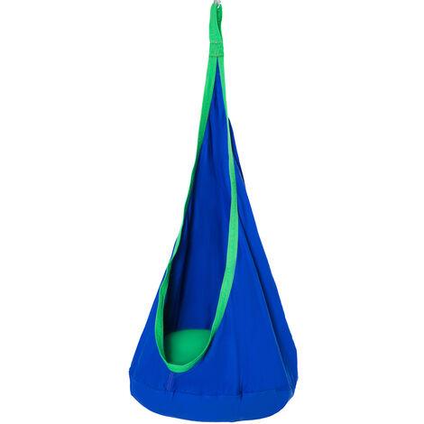 HOMCOM Pod Swing Chair Hanging Hammock Seat Kids Nook Tent for Indoor Outdoor - Blue
