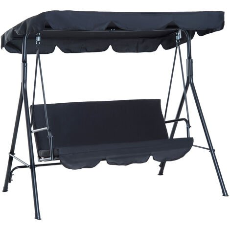 Outsunny 3 Seater Canopy Swing Chair Garden Rocking Bench w/ Top Roof - Black