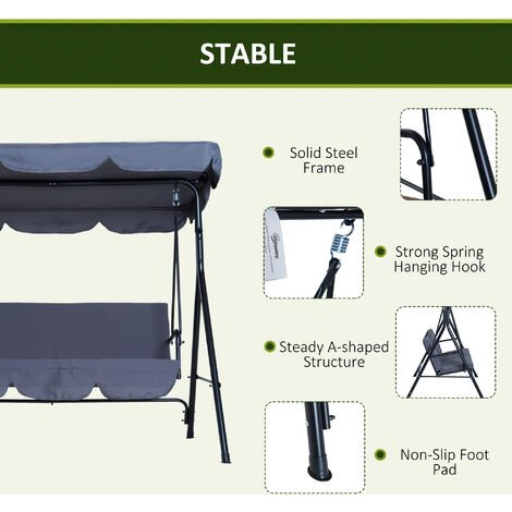 Outsunny 3 Seater Canopy Swing Chair Garden Rocking Bench w/ Top Roof - Grey