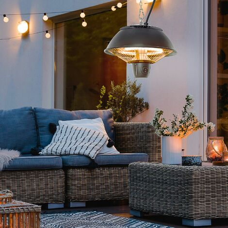 Outsunny Patio Ceiling Heater Hanging Switch Halogen Electric Hook Chain 600W Black