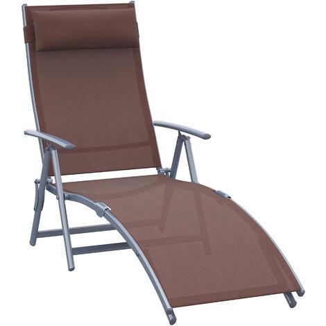 Outsunny Textilene Sun Lounger Recliner Chair Patio Foldable Garden 5 Levels - Brown
