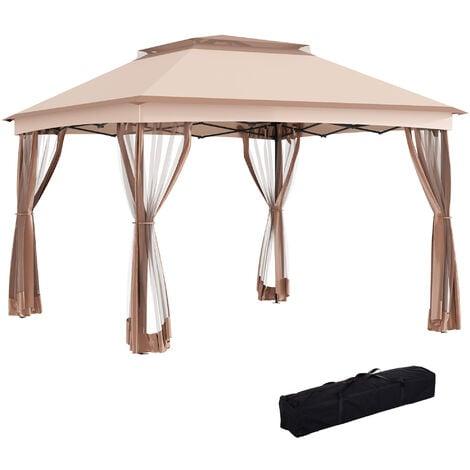 Outsunny 3 x 3m Metal Gazebo Canopy Garden Pop Up Tent w/Net Curtain Zipper Door - Khaki