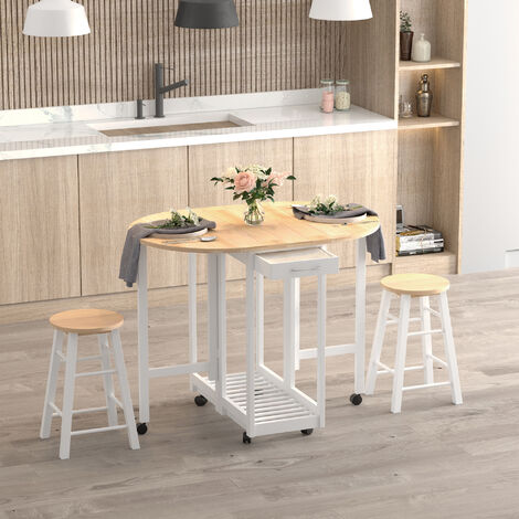 HOMCOM 3PC Wooden Kitchen Cart Mobile Rolling Trolley Folding Bar Table