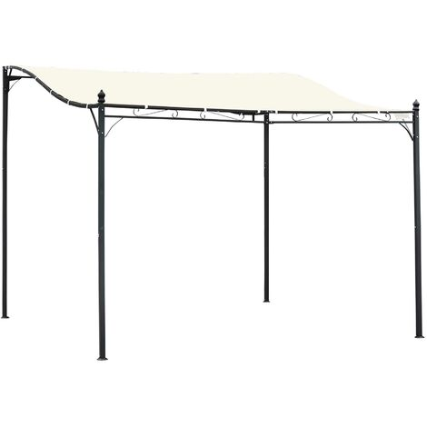 Outsunny 3 x 3M Wall Mounted Awning Free Stand Canopy Shade Garden Porch Pergola
