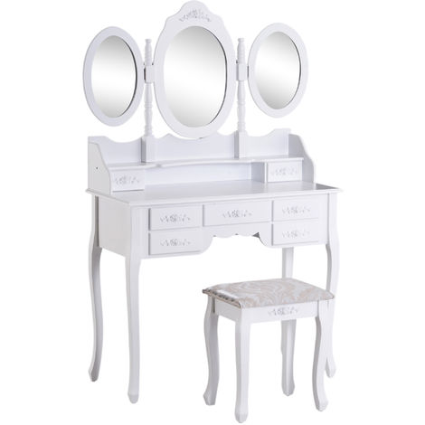 HOMCOM Shabby Chic Dressing Table Jewelry Cosmetic Vanity Set Makeup Dresser - White