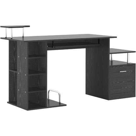HOMCOM Computer Desk PC Workstation with Drawer Shelves CPU Storage Rack Home Office Furniture (BLACK)