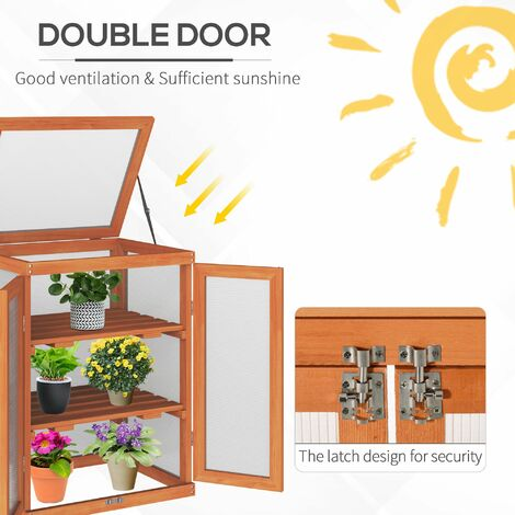 Outsunny 3-tier Wood Greenhouse Plant Storage Shelf Garden Cold Frame Grow House