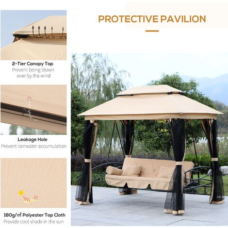 Outsunny 3 Seater Swing Chair Hammock Gazebo Patio Bench Cushioned Seat Mesh Curtains - Beige